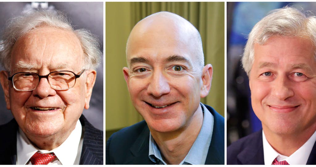 Photo if Buffet, Bezos and Dimon